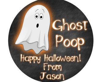 Halloween Stickers, Ghost Poop Stickers, Halloween Ghost Stickers, Trick or Treat Stickers, Halloween School Party, SHEET OF 12 #1118