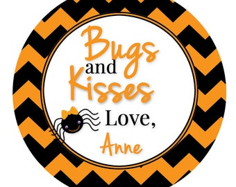 Halloween Stickers, Bugs and Kisses, Trick or Treat Sticker, Haunted House Sticker, Halloween Treat Stickers, Goodie Bags, SHEET OF 12 #556