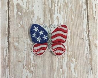 Fourth of July butterfly feltie |  flag Feltie | Felt applique | Embroidered Felt | UNCUT