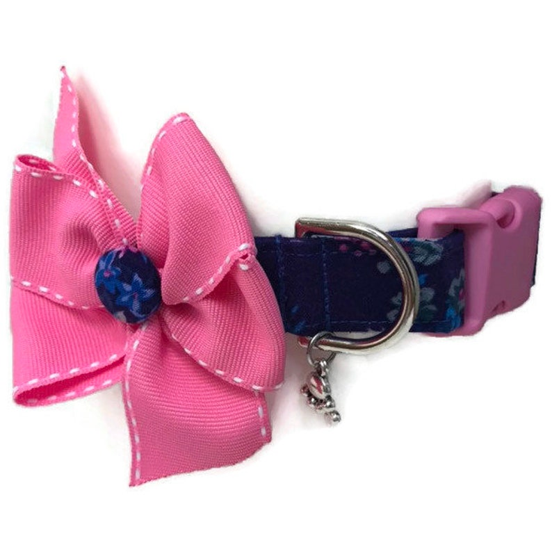 Floral Dog collar size Large Girl Dog Collar pink and blue image 0