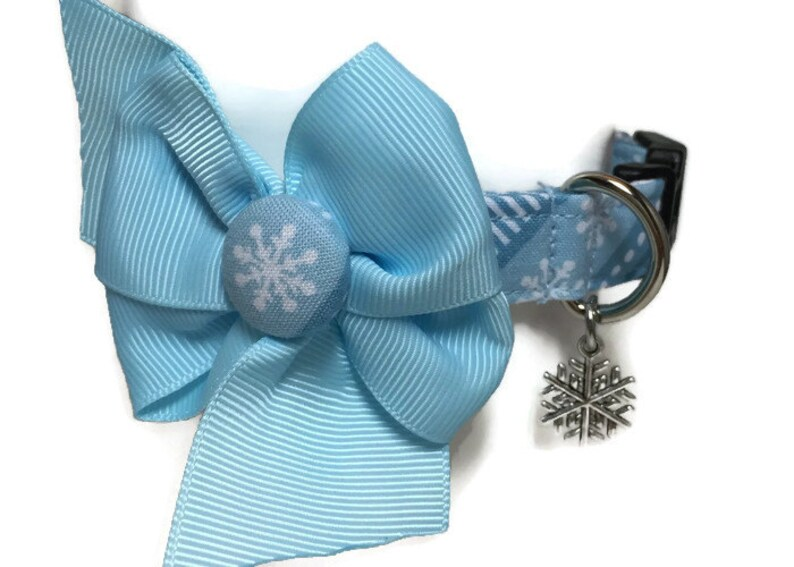 Crystal Blue Snowflakes Dog Collar Small and All Sizes image 0
