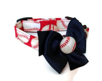 Red Baseball Dog Collar size Extra Small