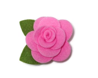 Small Pink Rose Dog Collar Flower Removable