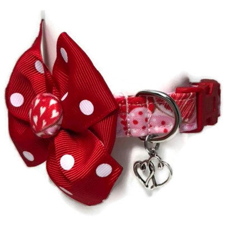 Valentine Dog Collar size Extra Small Girl Dog Collar image 0