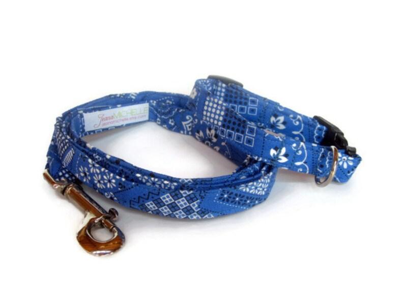 Blue Bandana Dog Leash Set size Extra Small