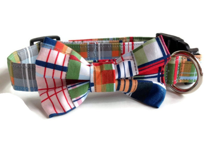 Plaid Bow Tie Dog Collar All Sizes image 0