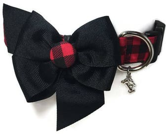 Buffalo Plaid Red and Black Check Dog Collar size Large