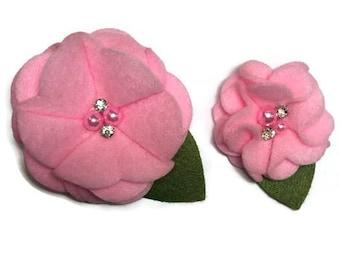 Light Pink Bling Felt Dog Collar Flower Removable