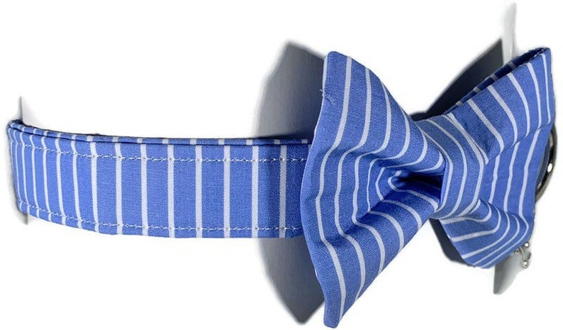Sailers Stripe  All Breeds Dog Bow Tie  ALL SIZES Blue and image 0
