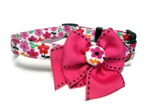 Pink Floral collier chien taille Small