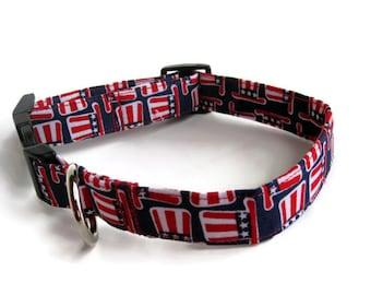Uncle Sam Dog Collar size Medium