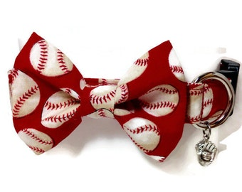 Red Baseball Bow Tie Dog Collar size Large