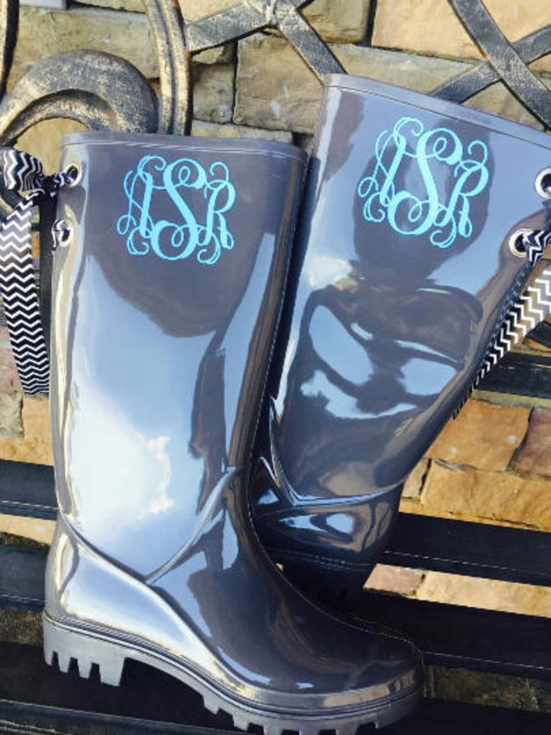 Monogrammed Rain Boots boots with bows boots with monogram image 0