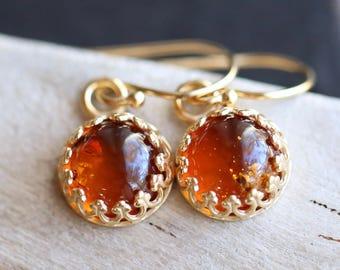 Amber Earrings, Natural Amber Earrings, Gallery Bezel set Genuine Amber Cabochon Earrings, Gemstone Earrings, Fossilized Amber Earrings