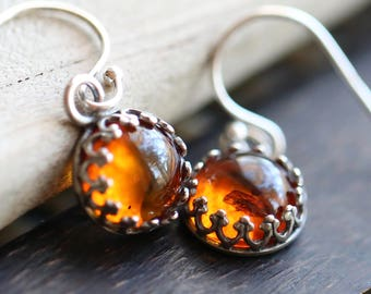 Natural Amber Earrings, Amber Earrings, Gallery Bezel set Genuine Amber Cabochon Earrings, Gemstone Earrings, Fossilized Amber Earrings