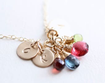 Personalized Birthstone Necklace Gift for Mom Four Initials Nana Necklace Personalized Necklace Gold Mothers Necklace Grandmother Necklace