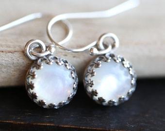 Mother of Pearl Earrings, MOP Earrings, Gallery Bezel set Mother of Pearl Cabochon Earrings, June Birthstone Earrings, White earrings