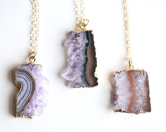 Faceted stones slice Necklace Wholesale 3-10pcs,Natural Lapis LazuliLabradoriteAmethyst Rectangle Stick Gold edged Connector Jewelry bulk