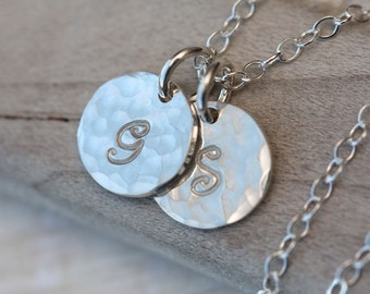Hand Stamped Necklace, Initial Necklace, Two Initials,  Mothers Necklace, Sterling Silver Necklace, Personalized Sterling, hammered initials