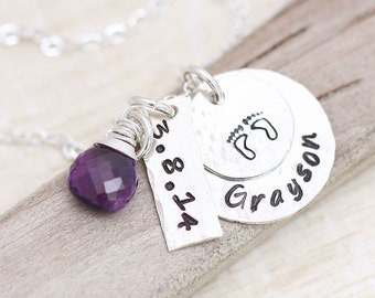New Baby, New Mom Necklace, Mother's Necklace, Personalized Mommy Necklace, Birthstone, Footprint Necklace, New Mother Necklace