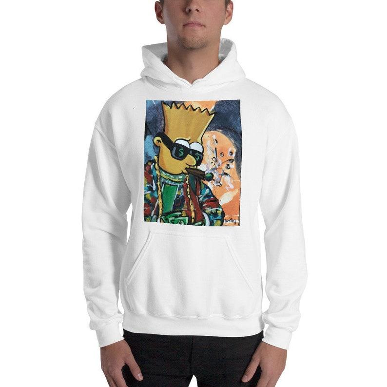 Bart Simpson Hoodie with Original Painting image 0