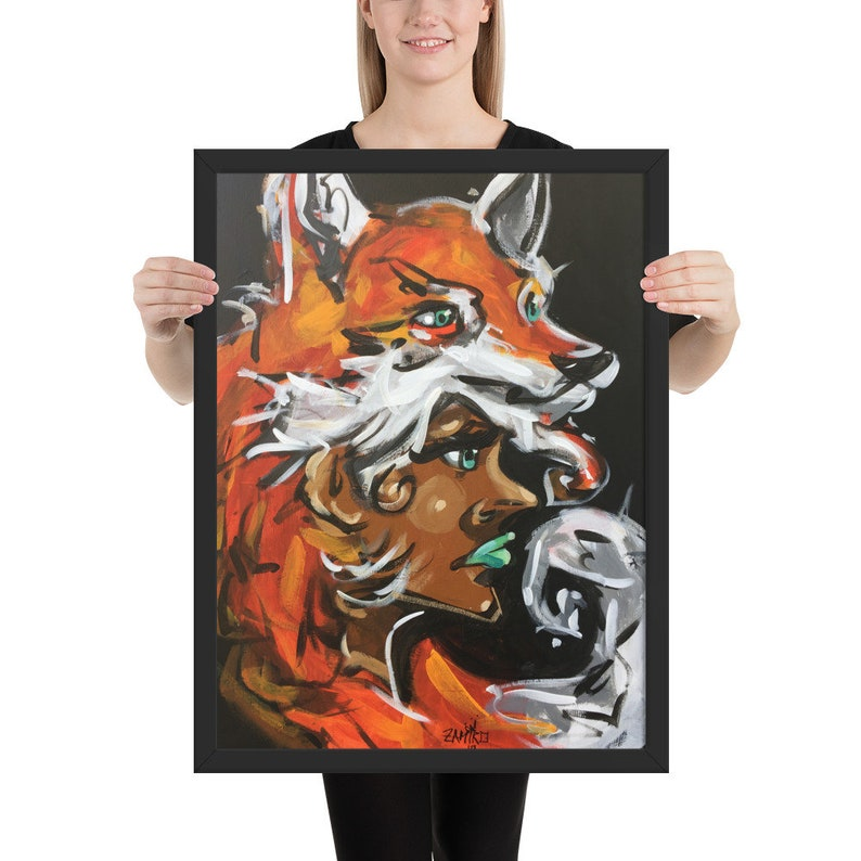 Fox Headed Framed poster by San Francisco Street Artist Urban image 0