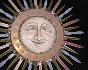 Sun wall sculpture, the Morning Star   sun assemblage   solstice wall art   inspirational art   wall decor