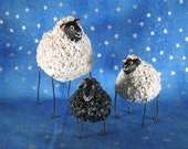 Mini sheep figurines, set of 3 | whimsical folk art sheep sculptures
