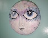 Full moon lady in the moon wall sculpture | Crystal Moon | handmade OOAK