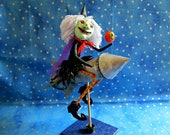 Spun cotton Halloween witch & JOL on rocket, paper clay face | OOAK | mixed media | folk art doll | Halloween witch figurine