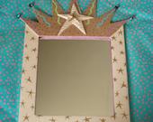 Framed star mirror OOAK | folk art | mixed media | trash to treasure | upcycled mirror