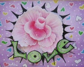 "Pink rose ""Love"" painting in wooden frame"
