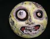 Zombie moon sculpture | Halloween decor | OOAK paperclay wall sculpture | full moon wall art