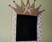 Framed crown mirror | folk art | mixed media | trash to treasure | upcycled mirror