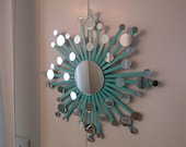 Atomic starburst mirror wall art | turquoise, pink or chartreuse starburst | star wall hanging | star sculpture | assemblage