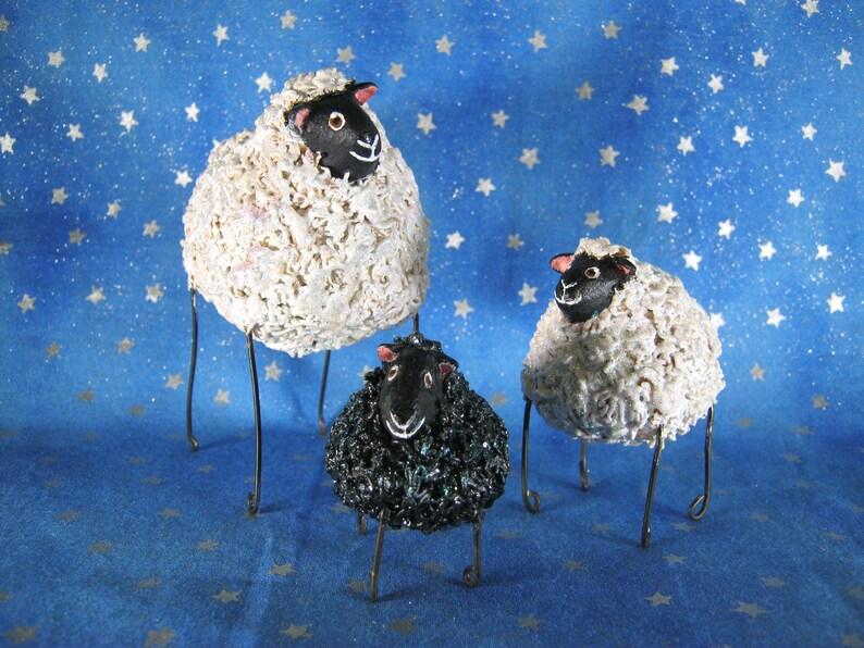 Mini sheep figurines set of 3  whimsical folk art sheep image 0