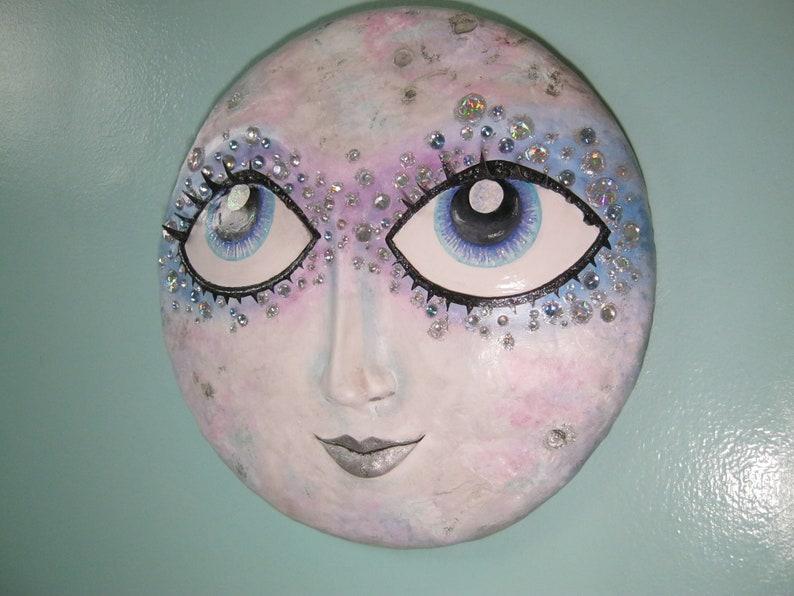 Crystal Moon full moon lady in the moon wall sculpture  moon image 0