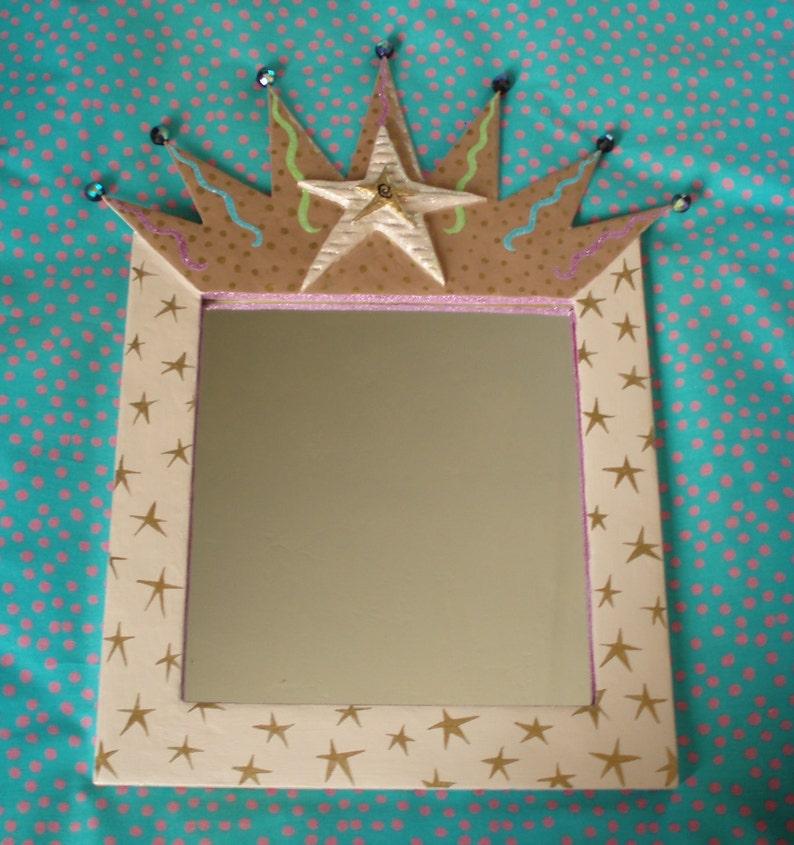 Framed star mirror OOAK  folk art  mixed media  trash to image 0
