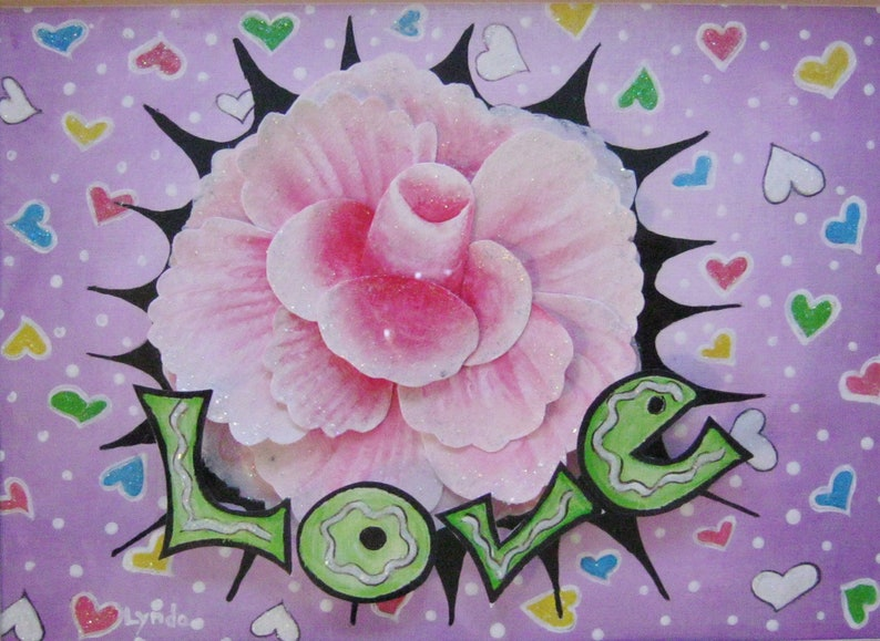Hand painted pink rose Love painting in wooden image 0
