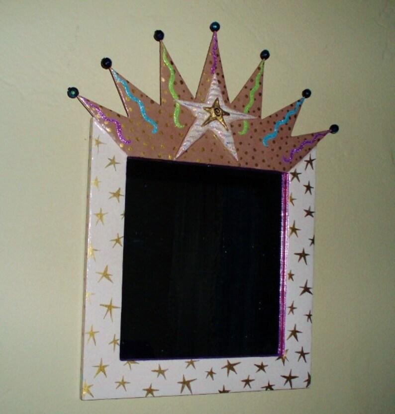 Framed crown mirror  folk art  mixed media  trash to image 0