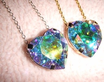 Heart of the Northern Lights - Swarovski Aurora Borealis Crystal Heart Necklace in Gold or Silver Setting