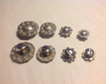 Silver Tone Conchos Set of 8, 2 Each 4 Sizes