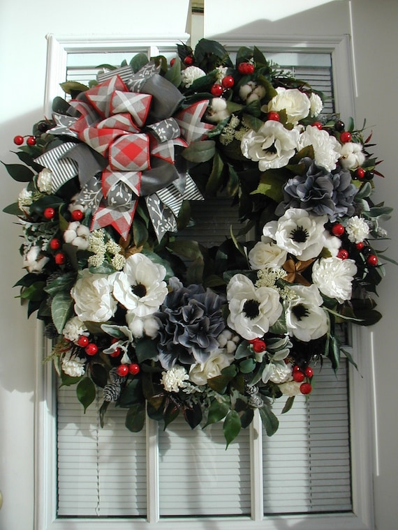 Winter After Christmas Wreath Front Door Decoration Elegant Gray White Red Silk Dupioni Floral Decor Holiday Fireplace Hanging Grapevine