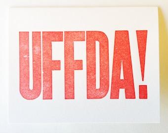 Uffda Blank Letterpress Norwegian Scandinavian Greeting Card