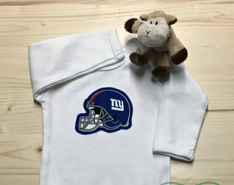 Giants Bodysuit with Heart Made from NY Giants Fabric, NY Giants Baby Girl, Baby Girl Giants, NFL Baby Girl, Baby Shower Gift, Ny Baby