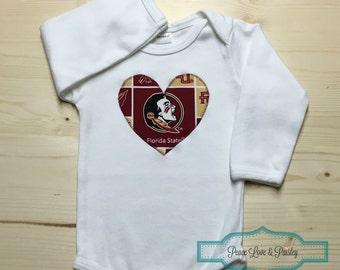 FSU Bodysuit with Heart Made from Florida State University Fabric, FSU Baby, FSU Baby Girl, Baby Shower Gift, Nole Girl