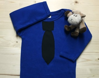 Blue and Black Necktie Baby Bodysuit, Baby Tie Shirt, Baby Shower Gift, Baby Boy Gift, Necktie Bodysuit, Police Baby, Thin Blue Line Baby