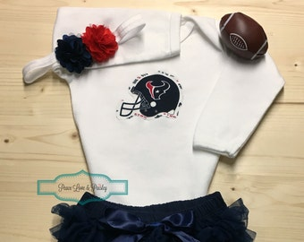 Houston Texans Bodysuit, Ruffle Diaper Cover and Headband Set Made from Houston Texans Fabric, Texans Baby Outfit, Baby Girl Texans, NFL