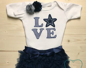 ee47999e919 Dallas Cowboys Bodysuit, Ruffle Diaper Cover and Headband Set Made from Dallas  Cowboys Fabric, Cowboys Baby Outfit, Baby Girl Cowboys, NFL
