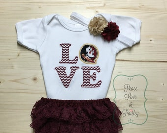 Seminoles Bodysuit, Lace Ruffle Diaper Cover Set Made from Florida State University Fabric, FSU Baby, Nole Girl, Nole Baby, Garnet and Gold